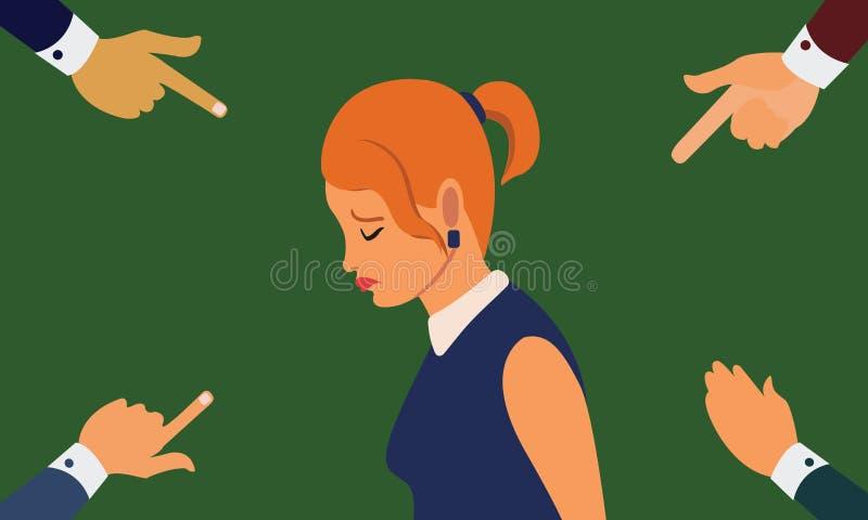 Πολλά χέρια που δείχνουν τη λυπημένη γυναίκα που κοιτάζει κάτω απεικόνιση αποθεμάτων