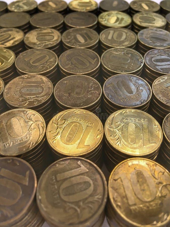 Πολλά mettal ρωσικά ρούβλια χρημάτων στοκ φωτογραφίες με δικαίωμα ελεύθερης χρήσης