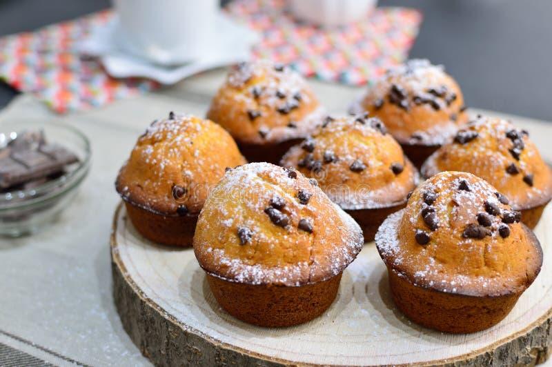 Πολλά muffins με τις πτώσεις σοκολάτας στοκ εικόνες
