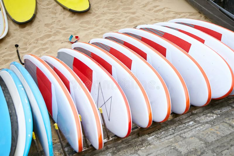 Πολλές ιστιοσανίδες στην αμμώδη παραλία στοκ εικόνες