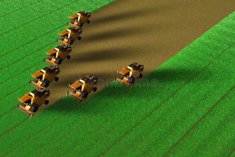 Πολλές κίτρινες αγροτικές θεριστικές μηχανές λειτουργούν στο μεγάλο πράσινο τομέα - τοπ άποψη στο ύφος φωτογραφιών κηφήνων, βιομη διανυσματική απεικόνιση