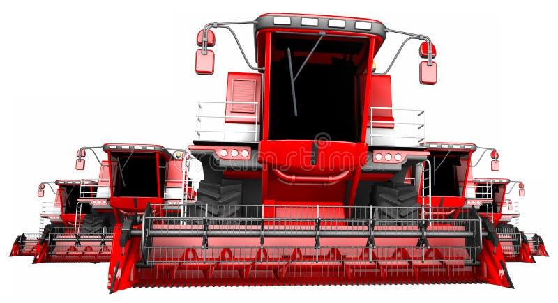 Πολλές κόκκινες θεριστικές μηχανές σίκαλης που απομονώνονται στο άσπρο υπόβαθρο - καλλιεργήστε τον εξοπλισμό, βιομηχανική τρισδιά διανυσματική απεικόνιση