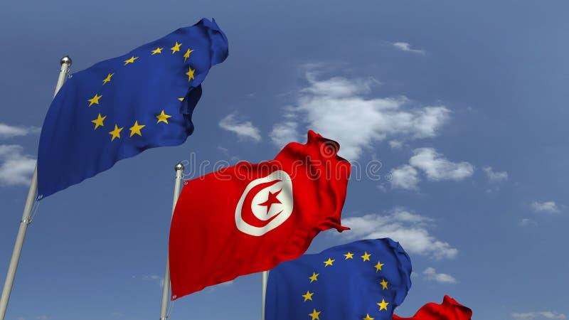 Πολλές σημαίες της Τυνησίας και της ΕΕ της Ευρωπαϊκής Ένωσης, τρισδιάστατη απόδοση στοκ εικόνα