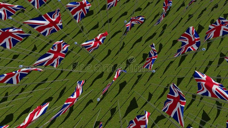 Πολλές σημαίες του Ηνωμένου Βασιλείου κυματίζω στον πράσινο τομέα διανυσματική απεικόνιση