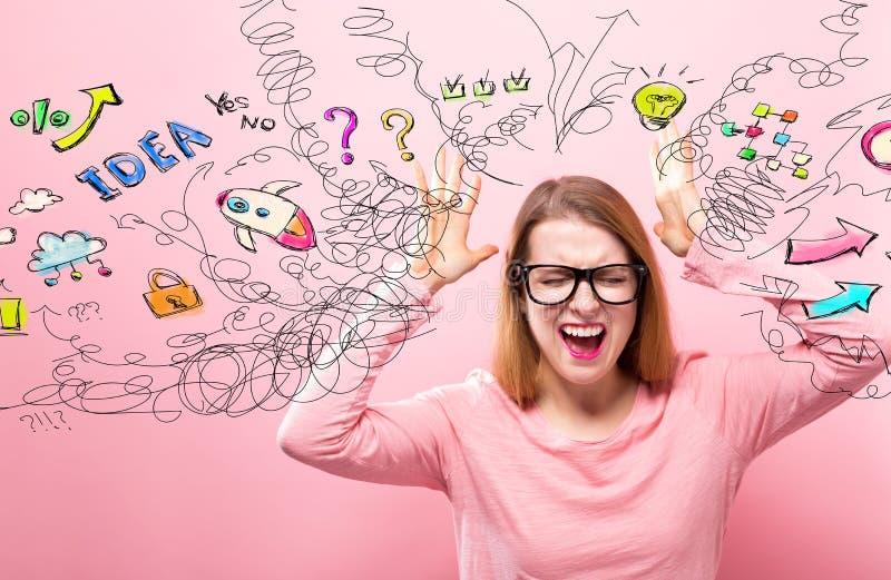 Πολλές σκέψεις με το συναίσθημα γυναικών που τονίζεται στοκ φωτογραφία με δικαίωμα ελεύθερης χρήσης