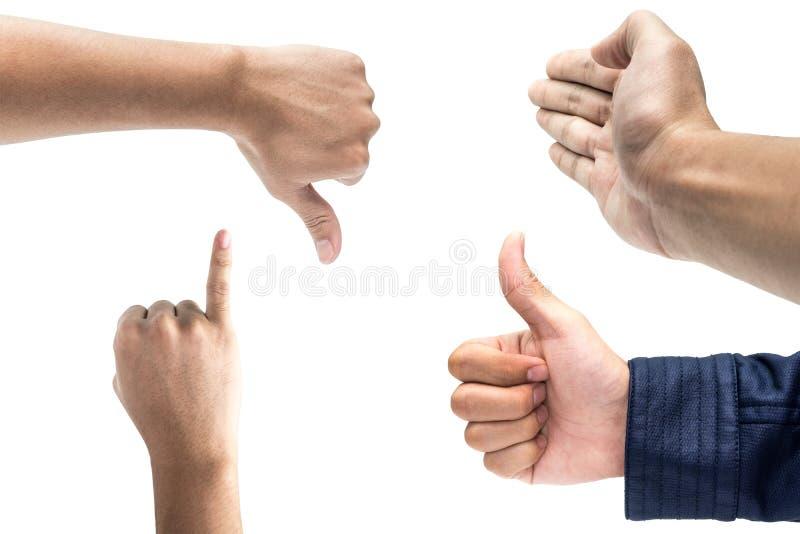 Πολλαπλάσιες αρσενικές χειρονομίες χεριών που απομονώνονται πέρα από το άσπρο υπόβαθρο, τους αντίχειρες επάνω, το σημάδι χεριών υ στοκ φωτογραφίες