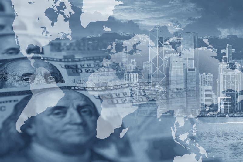 Πολλαπλάσιες εκθέσεις επιχειρησιακού υποβάθρου με τα χρήματα αμερικανικών δολαρίων με την εντολή επιχειρηματιών στοκ εικόνες