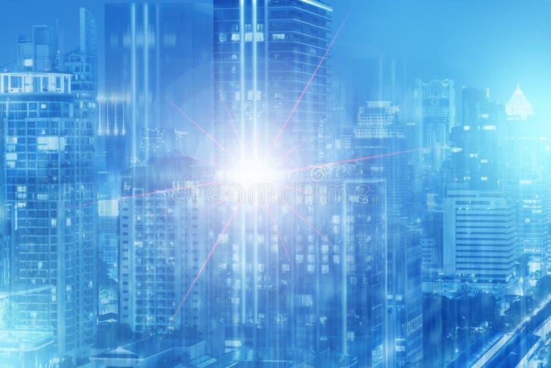 Πολλαπλάσιο έκθεσης πόλεων αφηρημένο υποβάθρου scifi τόνου τέχνης μπλε στοκ εικόνες