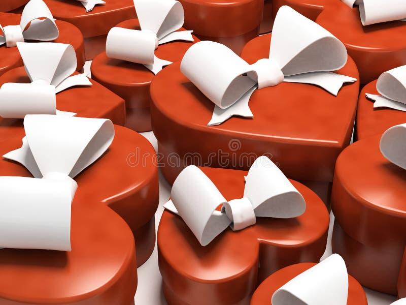 Πολλοί κιβώτιο-αγαπημένοι δώρων που απομονώνονται στην άσπρη ανασκόπηση στοκ εικόνα