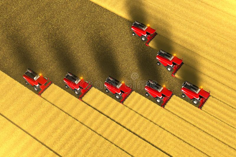 Πολλοί κόκκινο αγρόκτημα συνδυάζουν τις θεριστικές μηχανές εργάζονται στο μεγάλο τομέα σίτου - δείτε άνωθεν στο εναέριο ύφος φωτο διανυσματική απεικόνιση