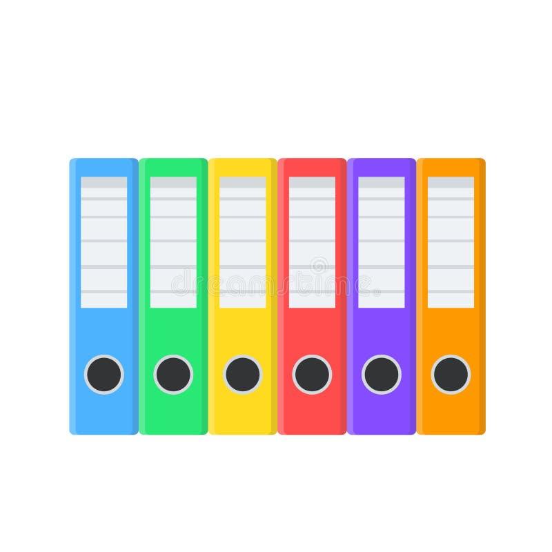 Πολλοί χρωματίζουν τους φακέλλους εγγράφων για το σχέδιο στο λευκό, διανυσματική απεικόνιση αποθεμάτων απεικόνιση αποθεμάτων