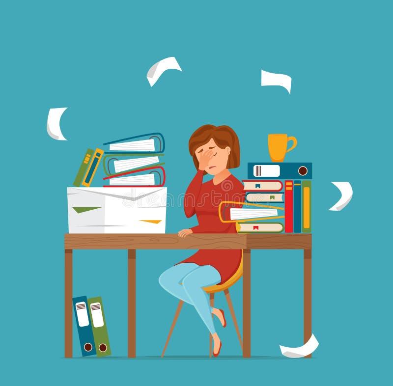 Πολυάσχολη κουρασμένη εργασία γυναικών στη ζωηρόχρωμη διανυσματική έννοια υπολογιστών Επίπεδη απεικόνιση ύφους κινούμενων σχεδίων ελεύθερη απεικόνιση δικαιώματος