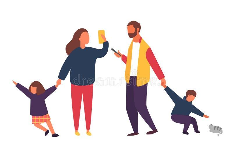 Πολυάσχολοι γονείς με τα κινητά smartphones Οικογένεια με τα παιδιά Διανυσματική απεικόνιση ανθρώπων ελεύθερη απεικόνιση δικαιώματος