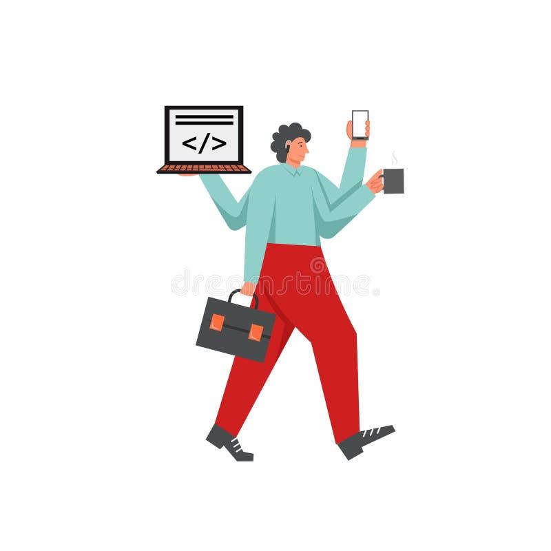 Πολυάσχολος επιχειρηματίας, διανυσματική επίπεδη απεικόνιση σχεδίου ύφους απεικόνιση αποθεμάτων