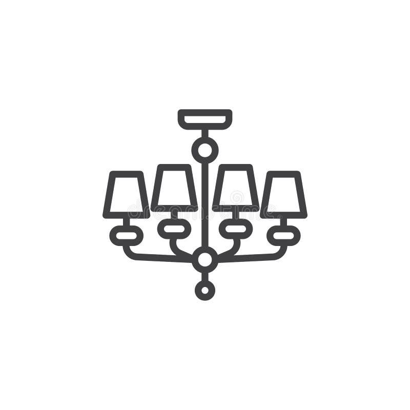 Πολυέλαιος, εικονίδιο γραμμών επίπλων ελεύθερη απεικόνιση δικαιώματος