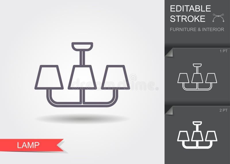 Πολυέλαιος Εικονίδιο γραμμών με το editable κτύπημα με τη σκιά διανυσματική απεικόνιση