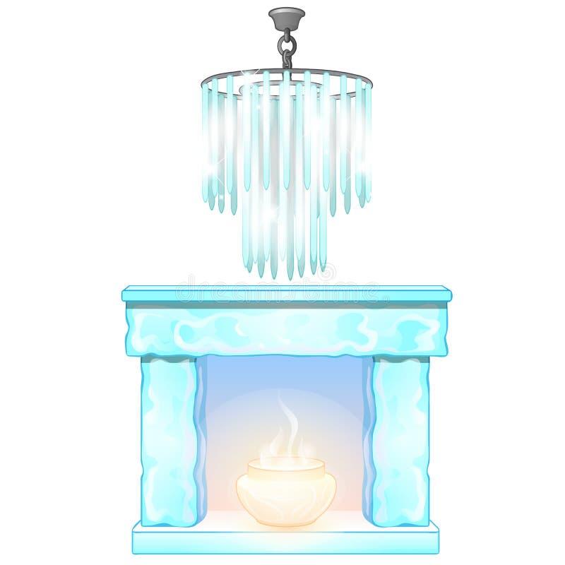 Πολυέλαιος και εστία με τη φλόγα του πάγου Διακοσμητικά παγωμένα εσωτερικά στοιχεία Διάνυσμα που απομονώνεται στο λευκό ελεύθερη απεικόνιση δικαιώματος