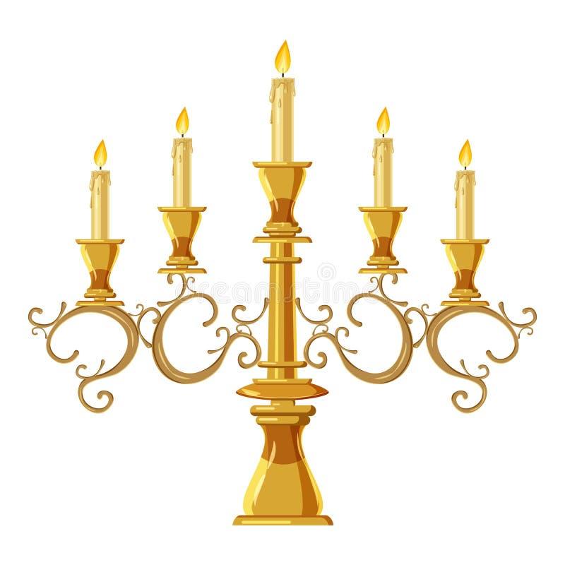 Πολυέλαιος με το εικονίδιο πέντε κεριών, ύφος κινούμενων σχεδίων διανυσματική απεικόνιση