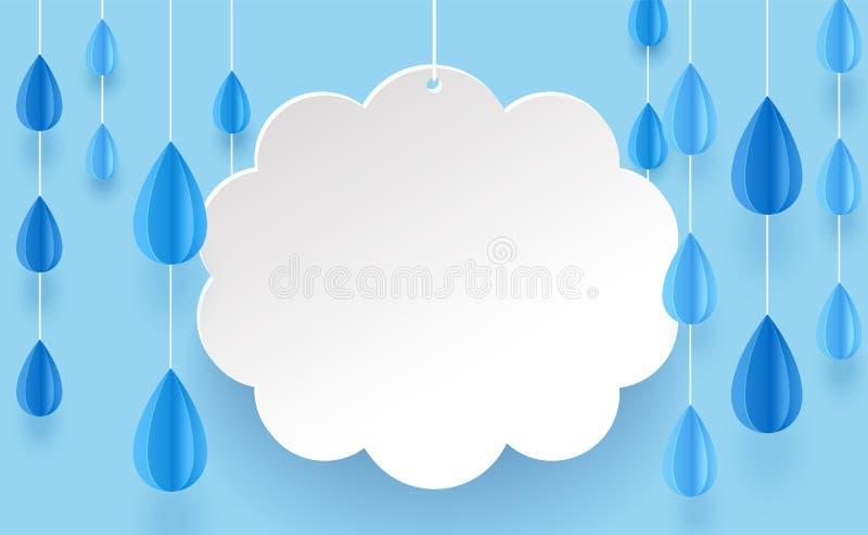Πολυέλαιος σύννεφων και βροχής στο ύφος τέχνης εγγράφου σε ένα μπλε υπόβαθρο απεικόνιση αποθεμάτων