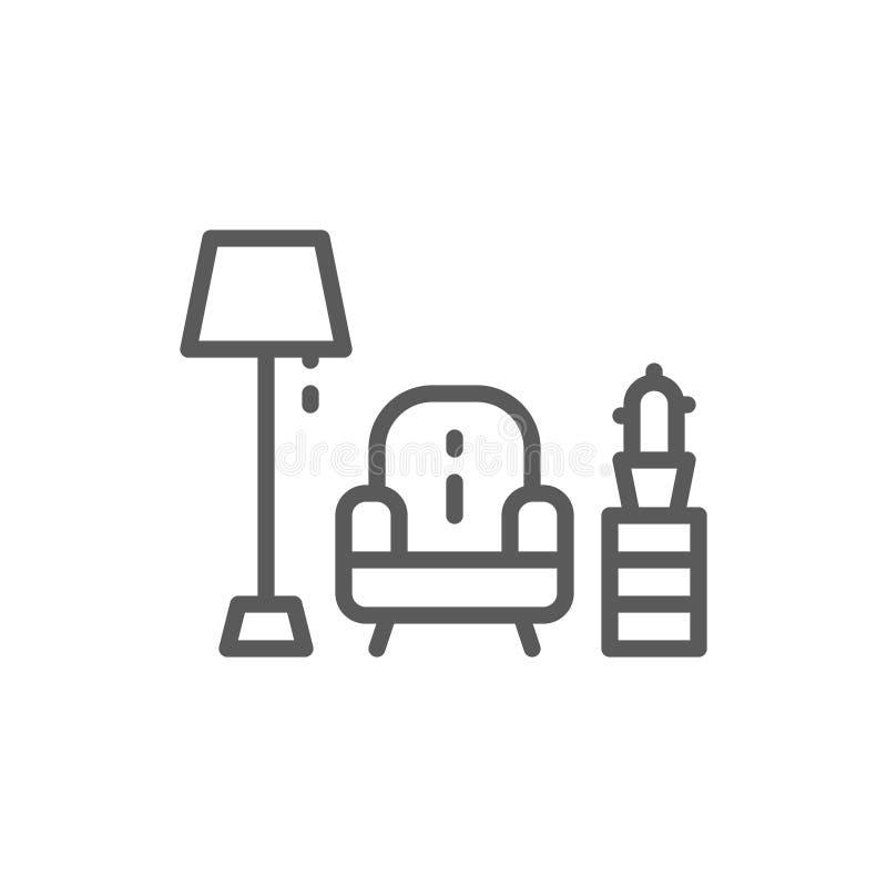 Πολυθρόνα με το εικονίδιο γραμμών λαμπτήρων απεικόνιση αποθεμάτων