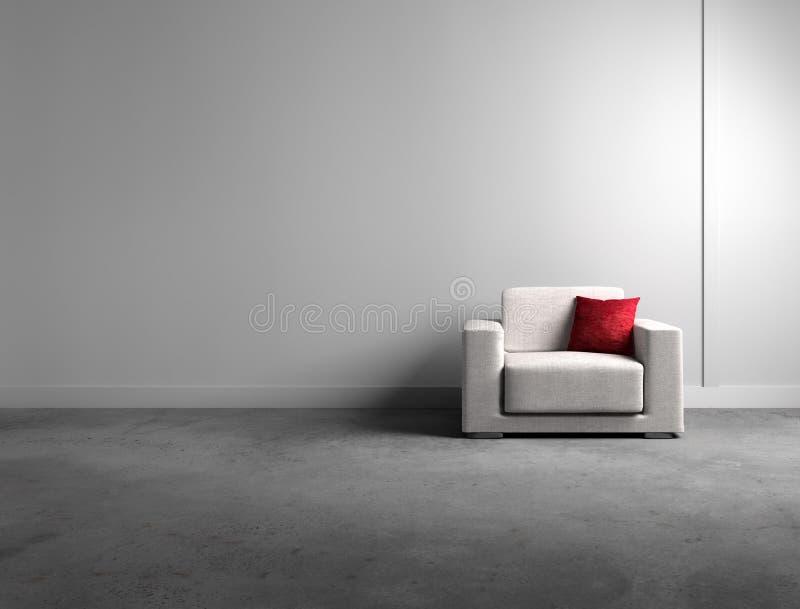 Πολυθρόνα σε ένα σύγχρονο γκρίζο καθιστικό απεικόνιση αποθεμάτων