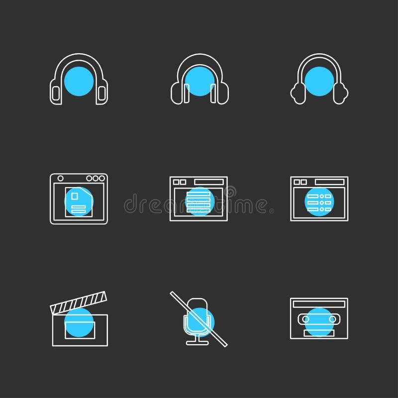 πολυμέσα, ενδιάμεσο με τον χρήστη, κάμερα, τεχνολογία, eps SE εικονιδίων διανυσματική απεικόνιση