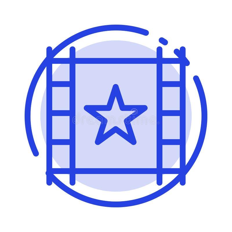 Πολυμέσα, πρόγραμμα αναπαραγωγής, ροή, εικονίδιο μπλε διάστικτης γραμμής αστεριού διανυσματική απεικόνιση