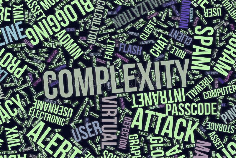 Πολυπλοκότητα, εννοιολογικό σύννεφο λέξης για την επιχείρηση, τεχνολογία πληροφοριών ή ΤΠ ελεύθερη απεικόνιση δικαιώματος