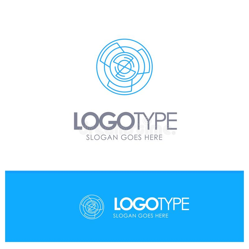 Πολυπλοκότητα, επιχείρηση, πρόκληση, έννοια, λαβύρινθος, λογική, μπλε λογότυπο περιλήψεων λαβυρίνθου με τη θέση για το tagline ελεύθερη απεικόνιση δικαιώματος