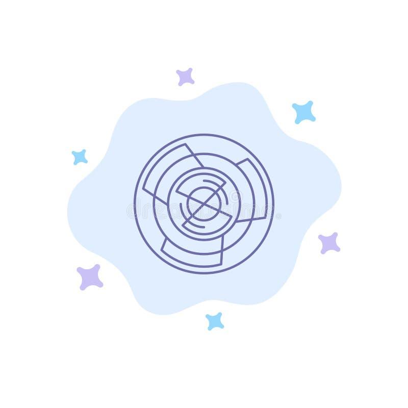 Πολυπλοκότητα, επιχείρηση, πρόκληση, έννοια, λαβύρινθος, λογική, μπλε εικονίδιο λαβυρίνθου στο αφηρημένο υπόβαθρο σύννεφων ελεύθερη απεικόνιση δικαιώματος