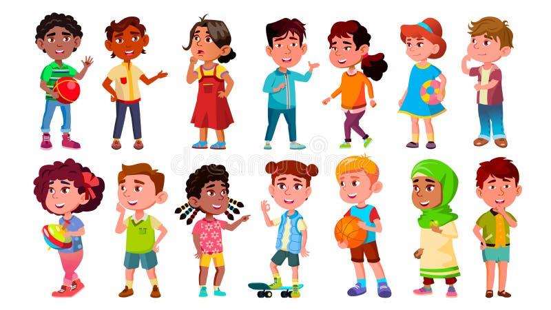 Πολυπολιτισμικά παιδιά παιδιών χαρακτήρων καθορισμένα διανυσματικά ελεύθερη απεικόνιση δικαιώματος