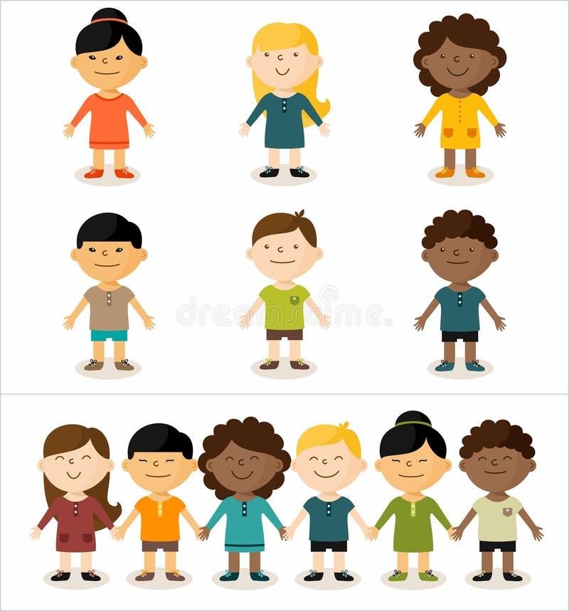 Πολυπολιτισμικά παιδιά διανυσματική απεικόνιση
