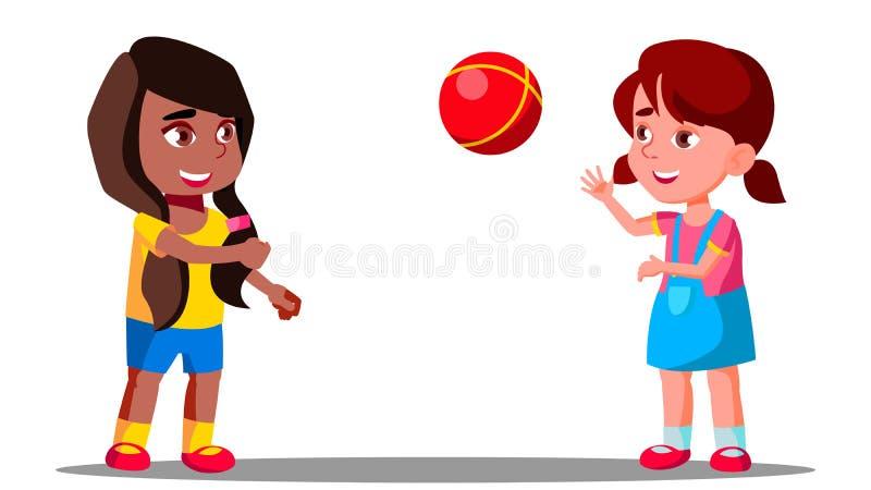 Πολυπολιτισμική ομάδα παιδιών που παίζουν μαζί το διάνυσμα απομονωμένη ωθώντας s κουμπιών γυναίκα έναρξης χεριών απεικόνιση ελεύθερη απεικόνιση δικαιώματος