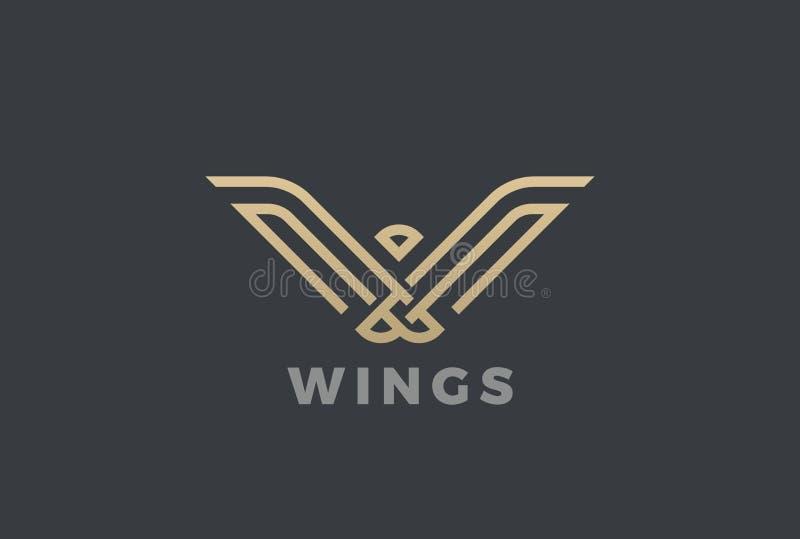 Πολυτέλειας αετών πουλιών αφηρημένο λογότυπων γραμμικό ύφος προτύπων σχεδίου διανυσματικό Χρυσό γεωμετρικό εραλδικό εικονίδιο ένν απεικόνιση αποθεμάτων