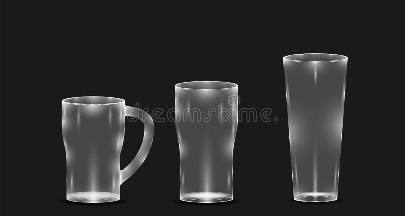Πολυτέλειας διαφορετικό μέγεθος γυαλιών προτύπων το ρεαλιστικό για πίνει το νερό οινοπνεύματος μπύρας o απεικόνιση αποθεμάτων