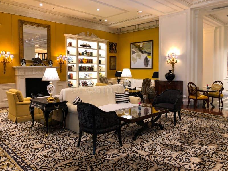 Πολυτελές εσωτερικό λόμπι ξενοδοχείων Ritz Carlton Tianjin Κίνα στοκ φωτογραφίες