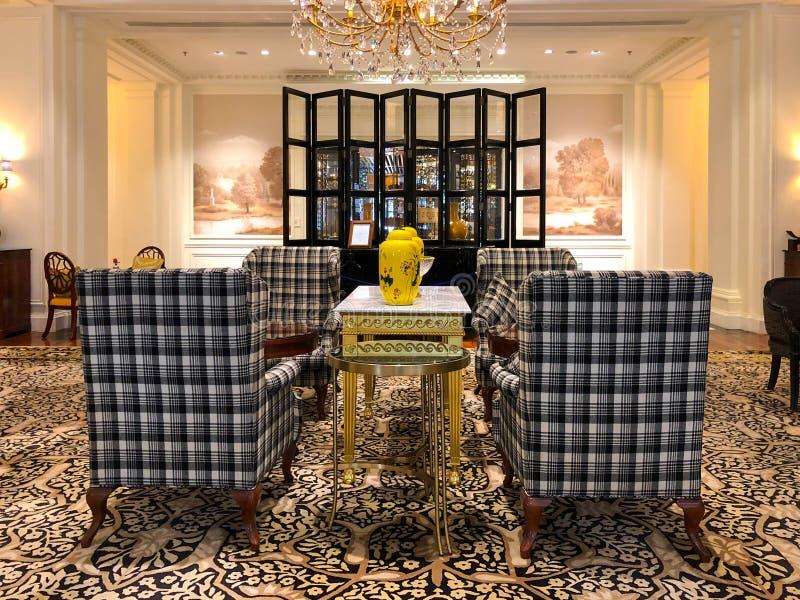 Πολυτελές εσωτερικό λόμπι ξενοδοχείων Ritz Carlton Tianjin Κίνα στοκ φωτογραφίες με δικαίωμα ελεύθερης χρήσης