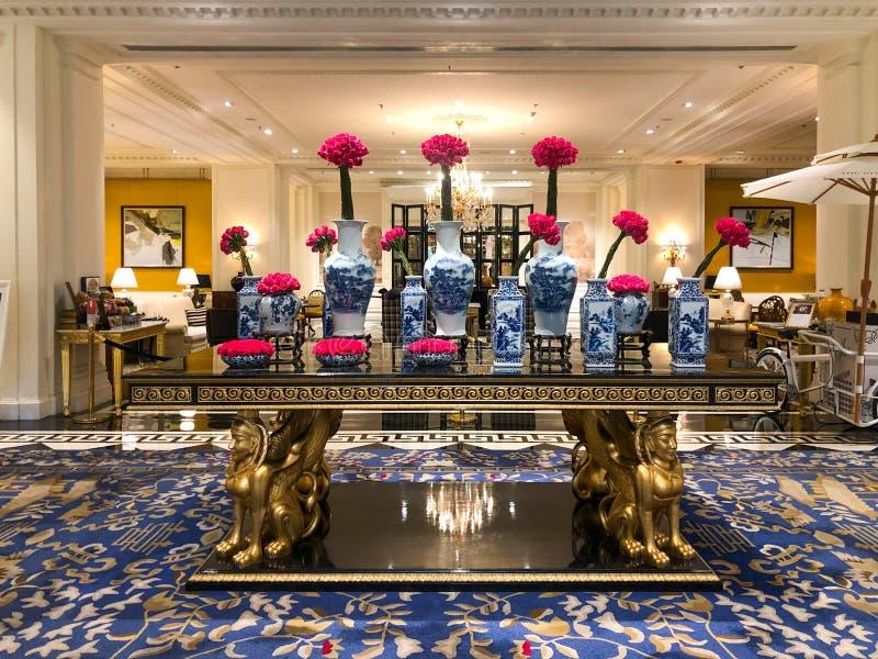 Πολυτελές εσωτερικό λόμπι ξενοδοχείων Ritz Carlton Tianjin Κίνα στοκ εικόνα