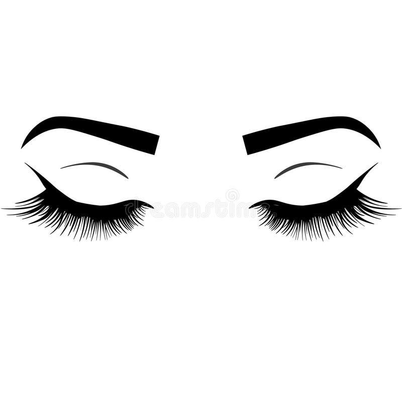 Πολυτελές μάτι κλεισίματος του ματιού Ιστού προκλητικό με τα τέλεια διαμορφωμένα φρύδια και τα πλήρη μαστίγια Ιδέα για την κάρτα  διανυσματική απεικόνιση
