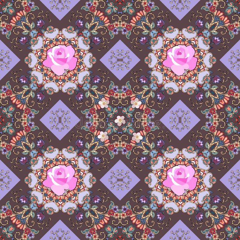 Πολυτελής άνευ ραφής πλήρης διακόσμηση χρώματος με τα λεπτά ρόδινα τριαντάφυλλα, τις μικρά τουλίπες και τα στοιχεία δαντελλών Τυπ διανυσματική απεικόνιση