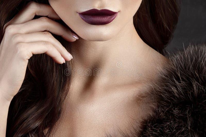 Πολυτελής νέα γυναίκα με την τέλεια σύνθεση με το πορφυρό κραγιόν στοκ εικόνα με δικαίωμα ελεύθερης χρήσης