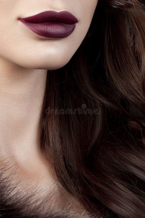 Πολυτελής νέα γυναίκα με την τέλεια σύνθεση με το πορφυρό κραγιόν στοκ φωτογραφίες