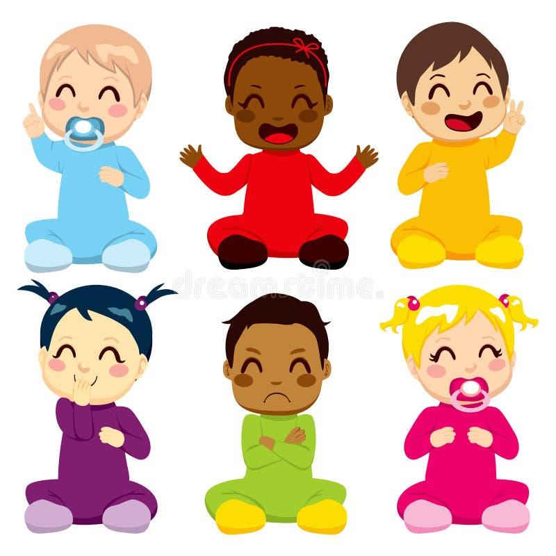 Πολυ-εθνικά παιδιά μωρών ελεύθερη απεικόνιση δικαιώματος