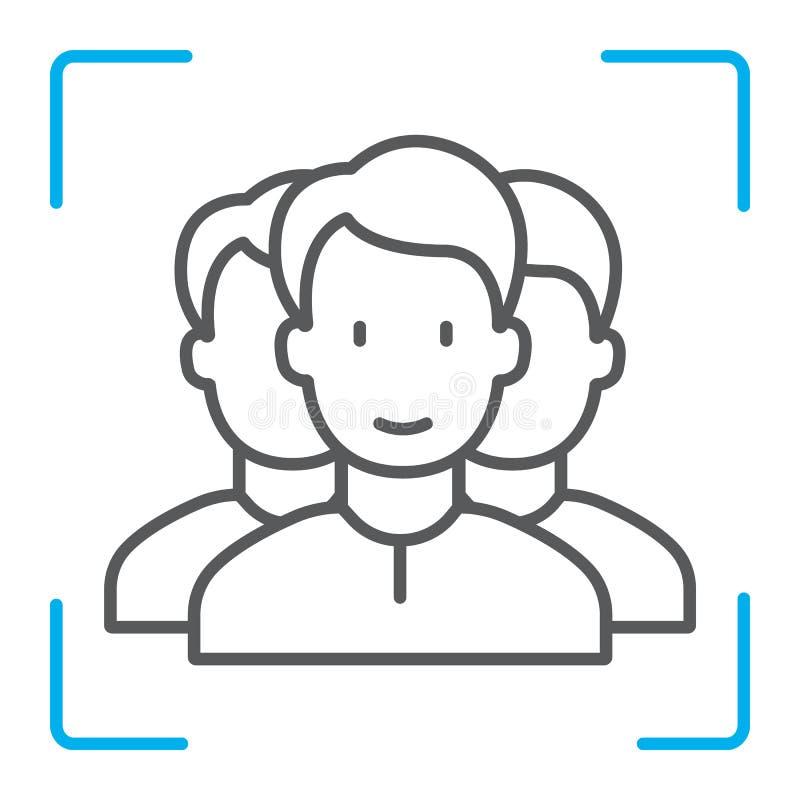 Πολυ προσώπου εικονίδιο γραμμών ταυτότητας λεπτό, αναγνώριση προσώπου απεικόνιση αποθεμάτων