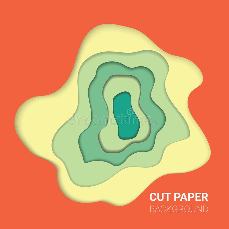 Πολυ σύσταση χρώματος στρωμάτων τρισδιάστατα στρώματα papercut στο διανυσματικό έμβλημα κλίσης ελεύθερη απεικόνιση δικαιώματος