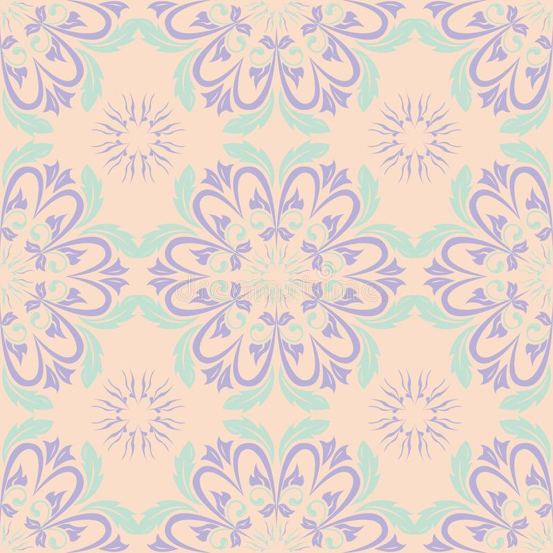 Πολυ χρωματισμένο floral άνευ ραφής σχέδιο Μπεζ υπόβαθρο με τα ιώδη και μπλε στοιχεία λουλουδιών διανυσματική απεικόνιση