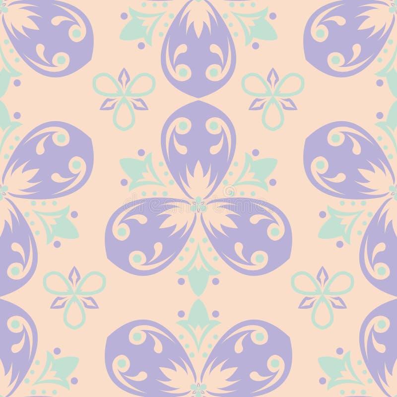 Πολυ χρωματισμένο floral άνευ ραφής σχέδιο Μπεζ υπόβαθρο με τα ιώδη και μπλε στοιχεία λουλουδιών ελεύθερη απεικόνιση δικαιώματος