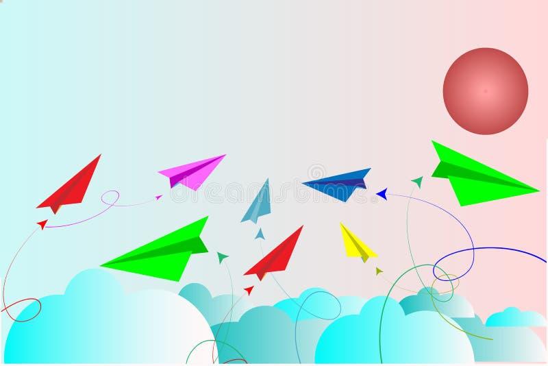 Πολυ χρώμα αεροπλάνων εγγράφου στο μπλε ουρανό με τα σύννεφα - διανυσματική έννοια ελεύθερη απεικόνιση δικαιώματος