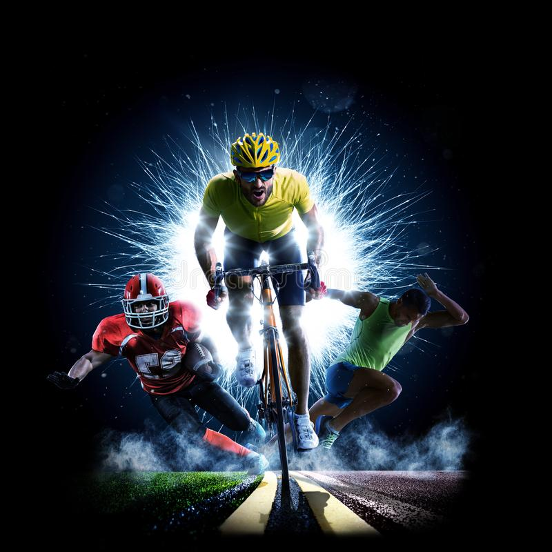 Πολυ rinning αμερικανικό ποδόσφαιρο οδικών ποδηλάτων αθλητικών κολάζ στοκ εικόνα