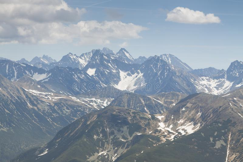 Πολωνία/Σλοβακία, βουνά Tatra, πανόραμα στοκ φωτογραφίες